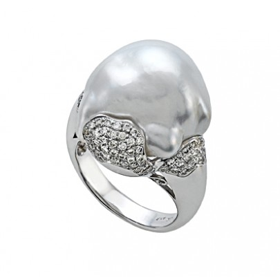 South Sea Baroque Pearl & Diamond Ring 80D/.53cts 18K