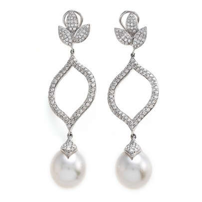 South Sea Pearl (13-14mm) & Diamond Leaf Earrings 246D/2.65cts 18K