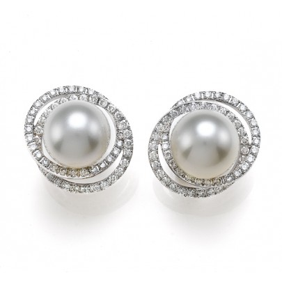 South Sea Pearl (13-14mm) & Diamond Earrings 246D/2.65cts 18K
