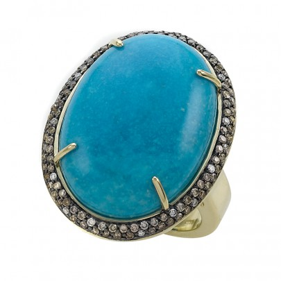 Turquoise ring /26.78Ct/ 100BrD\ .52Ct  20D\ .10Ct 14K
