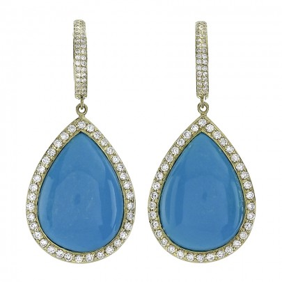 18.49Cts Turquoise earrings 136D/ 1.22Cts     18Ky