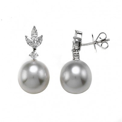 South Sea Pearl (12-13mm) &  Diamond Earrings 18K