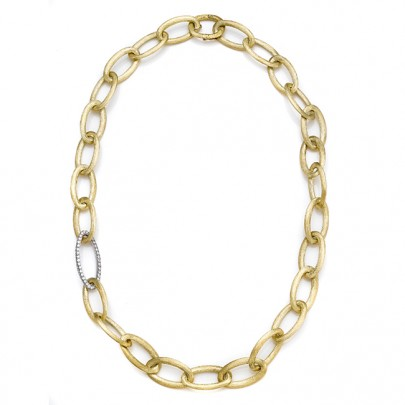Hand-Etched Gold & Diamond Necklace 111D/1.14cts 18k