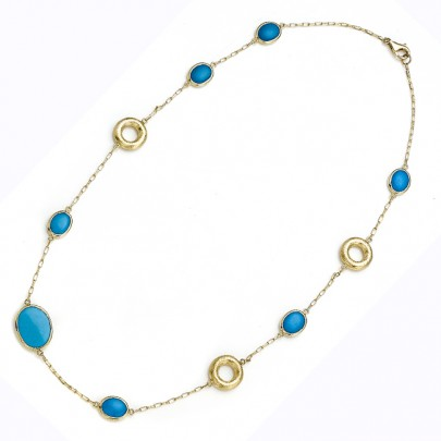 Turquoise Necklace w/ Hand-Etched Gold Links 18k