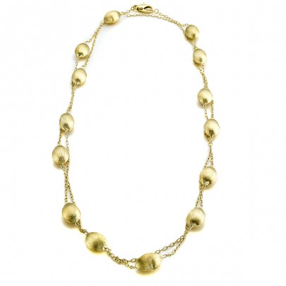 Hand-Etched Long Gold Bead Necklace 18k