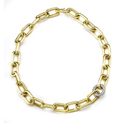 Hand-Etched Gold Link & Diamond Necklace 100D/2.85cts 18k