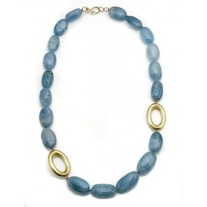 Aquamarine & Hand-Etched Gold Necklace 18K