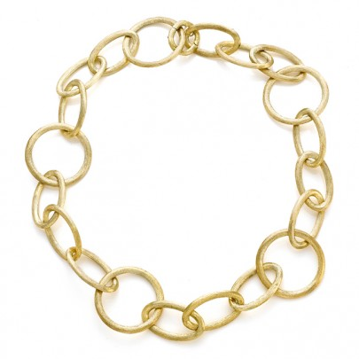Hand-Etched Gold Link Necklace 18k
