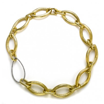Hand-Etched Gold & Diamond Link Necklace 72D/.52ct 18k