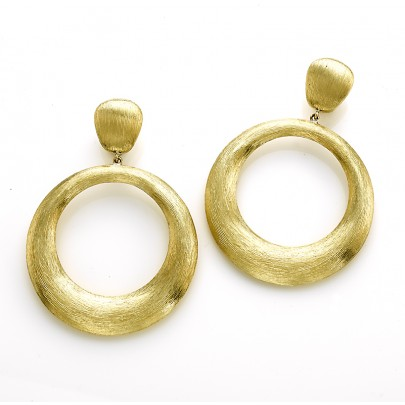 Hand-Etched Gold Drop Earrings  18K