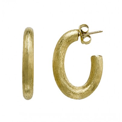 Hand-Etched Gold Hoop Earrings (41x30mm) 18k