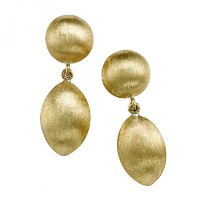 Hand Etched Gold Bead Earrings 18K
