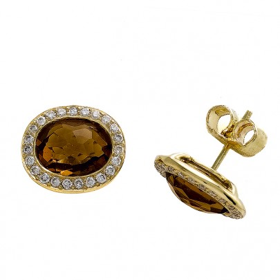 Citrine & Diamond Studs 46D/.46ct 18k