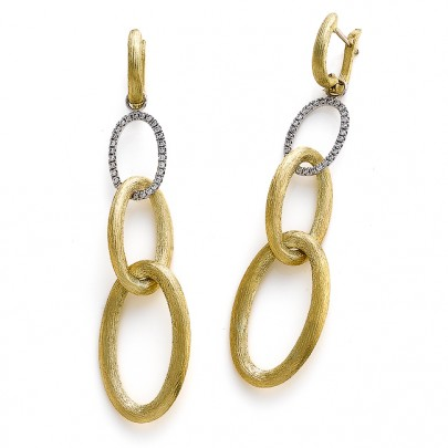 Hand-Etched Gold & Diamond Drop Earrings 58D/.30ct 18k