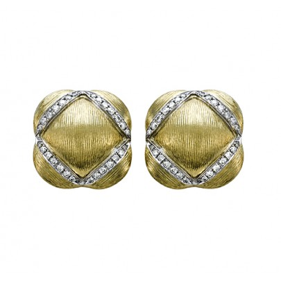Hand-Etched Gold & Diamond Earrings 56D/.49ct 18k