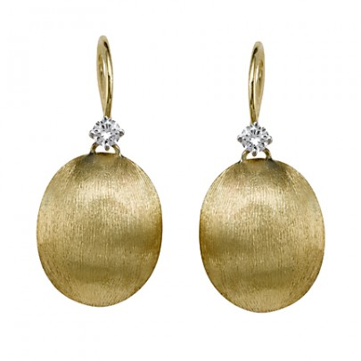 Hand-Etched Gold Bead Earrings 2D/.22ct 18k