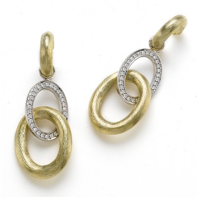 Hand Etched Gold& Diamond Drop Earrings 60D/.40ct 18k