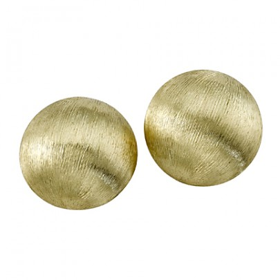 Hand-Etched Gold Button Earrings (20mm) 18k