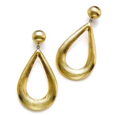Hand-Etched Gold Drop (40x25mm) Earrings 18K