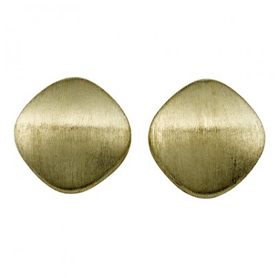 Hand-Etched Gold Button Earrings 18k