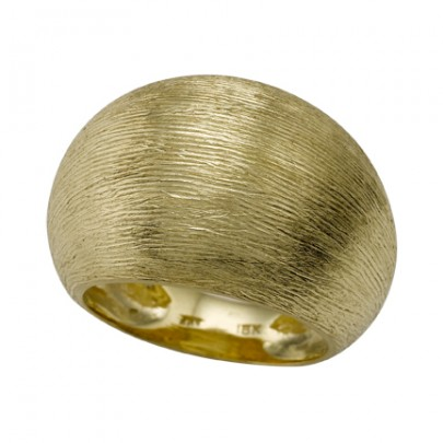 Hand-Etched Gold Domed Ring 18k