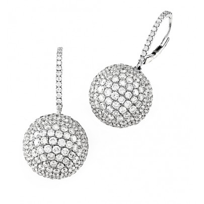 Diamond Ball Earrrings  18K