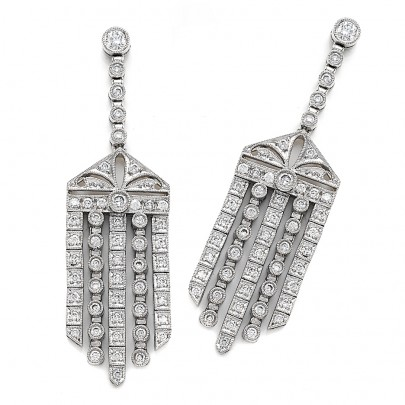 Diamond Drop Earring  102D/1.85cts    18k