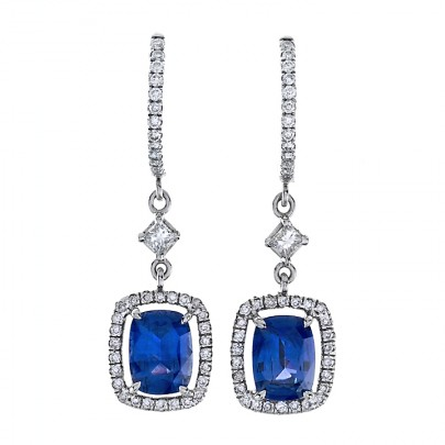 Sapphire Earrings w/ Diamond Accents 18k